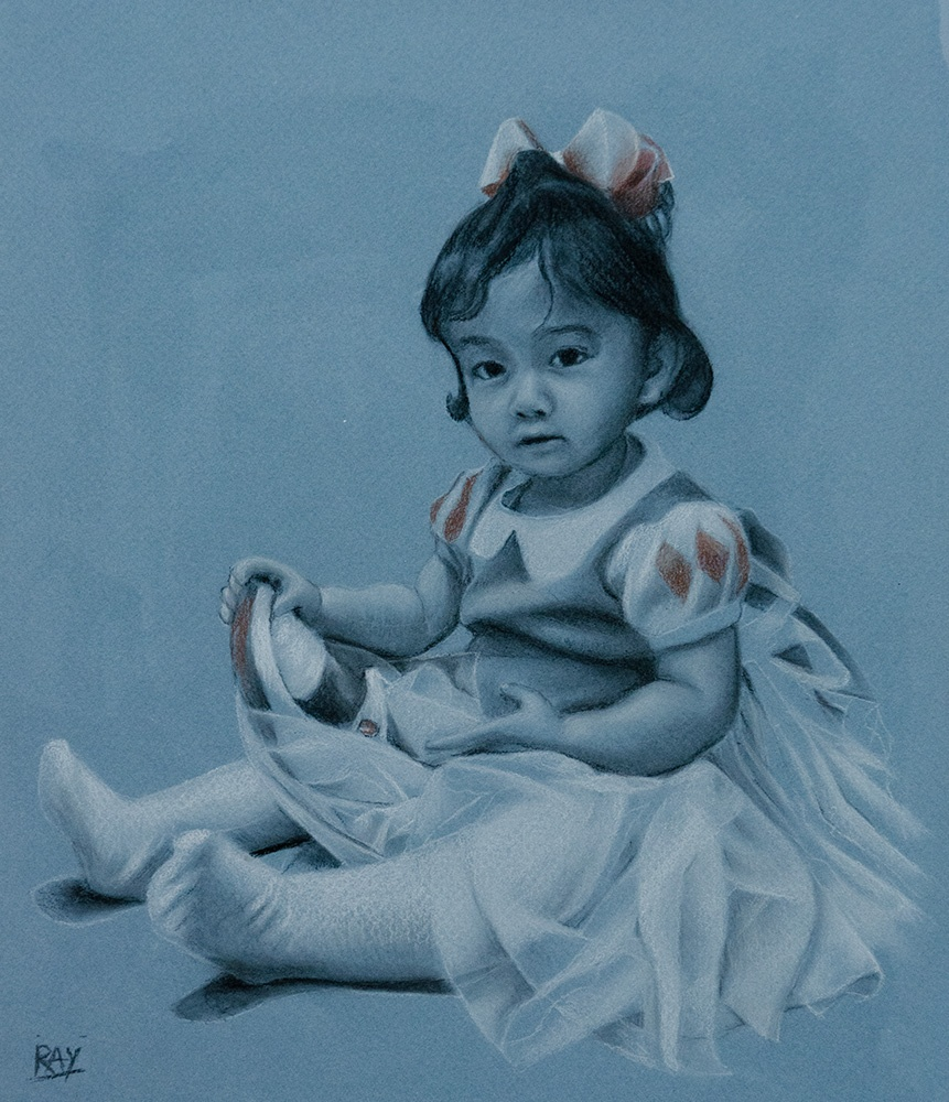 "Alan Douglas Ray, ""Trying on the Slipper"", 12"" x 10"", charcoal and chalk on blue Canson paper"